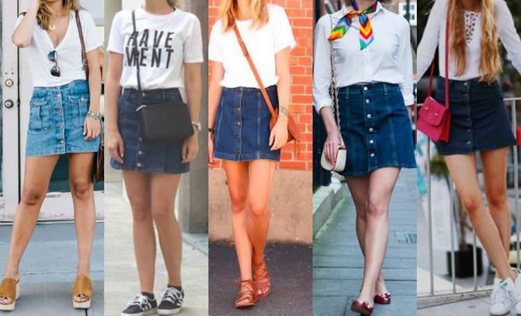 Saia jeans num look básico