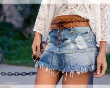 usar saia jeans para ficar chique