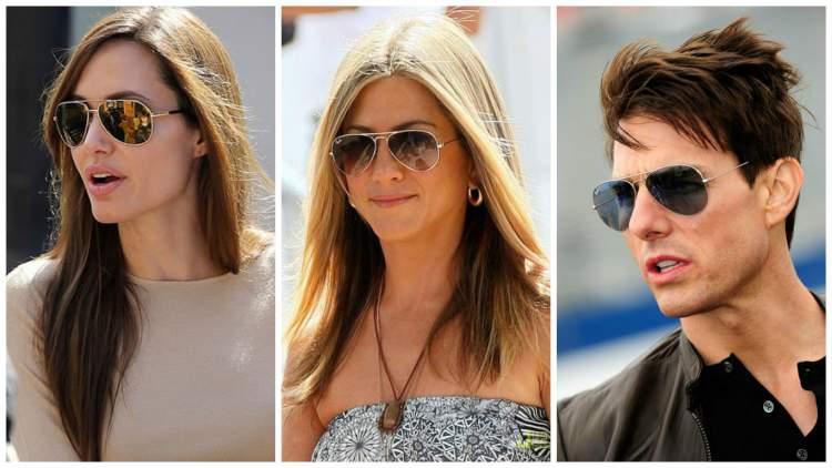 celebridades usando óculos de sol modelo aviador