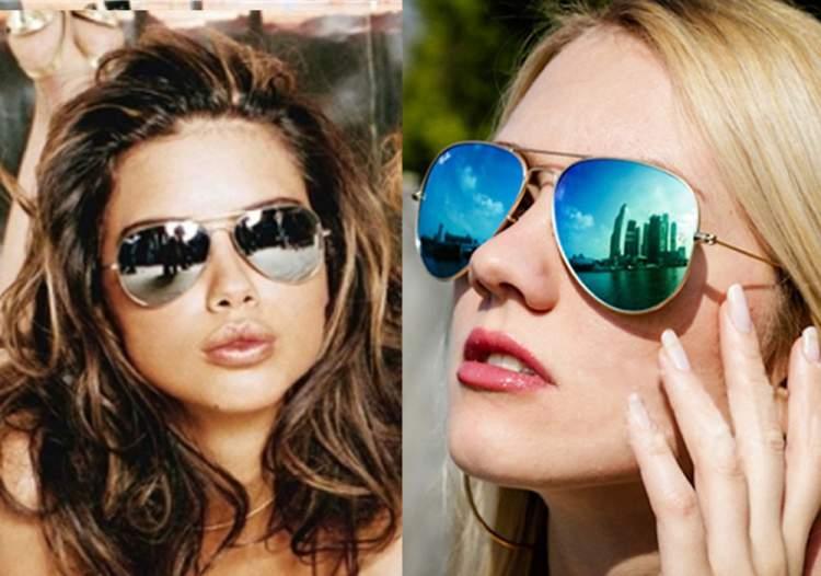 mulheres usando óculos de sol modelo aviador