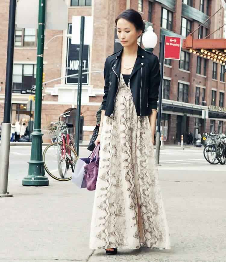 vestido longo com jaqueta