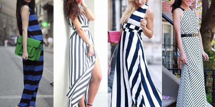 vestido longo com listra