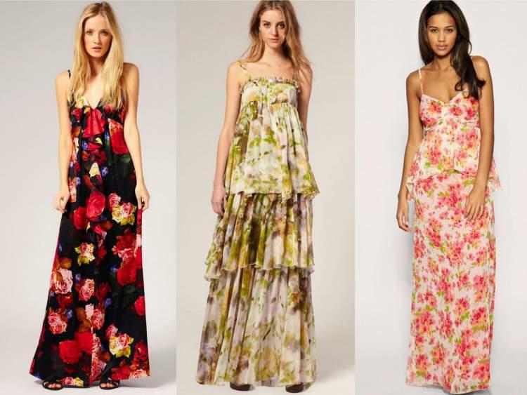 vestido longo floral para usar de dia