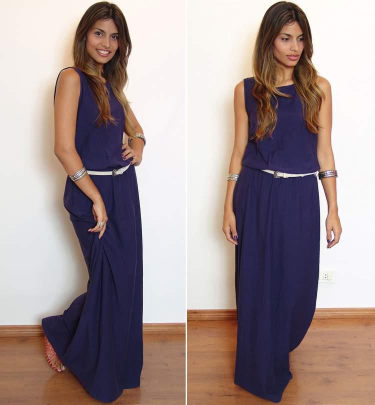 vestido longo monocrático