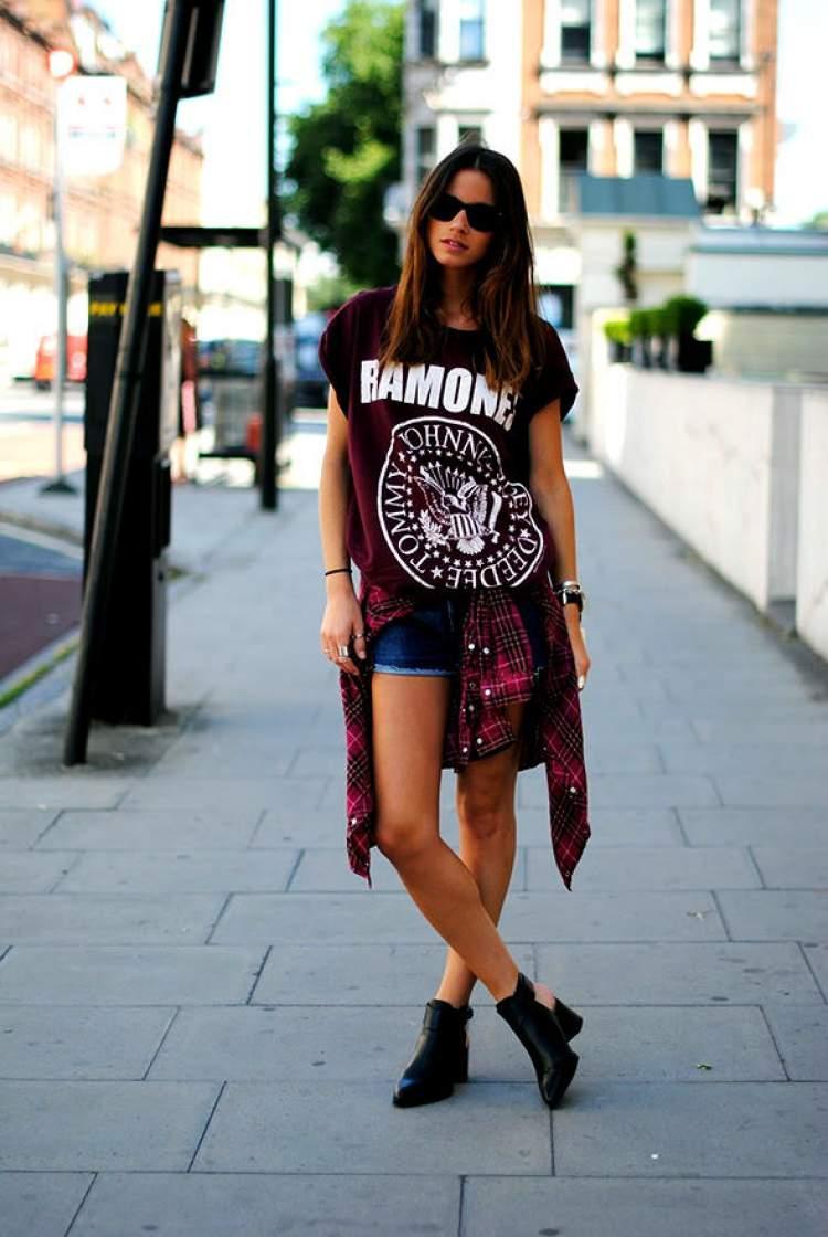 Camisa de banda com camisa xadrez