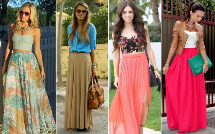 modelos de saia longa para mulheres baixinhas