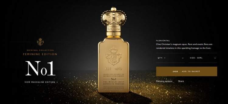 Clive Christian No. 1, por Clive Christian é um dos perfumes femininos mais caros do mundo