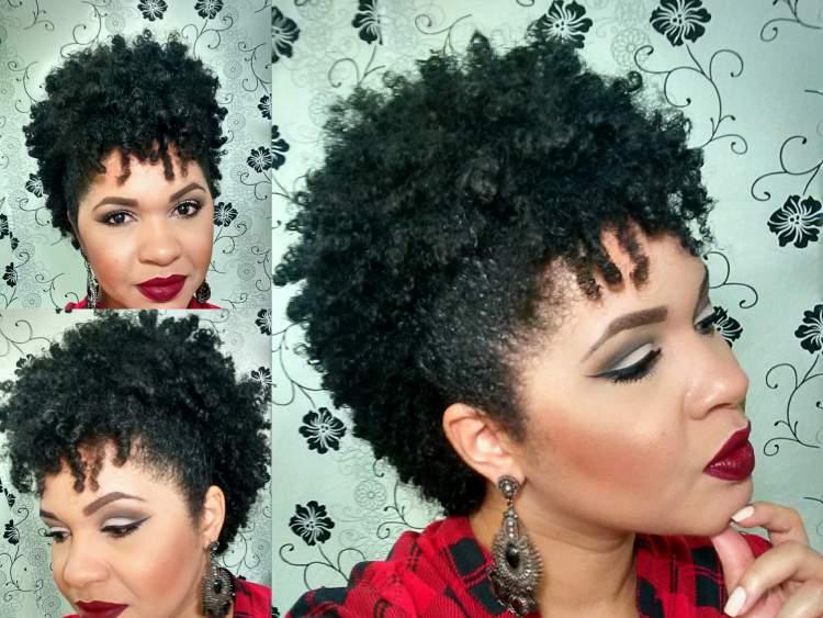penteado falso moicano em cabelo cacheado curto