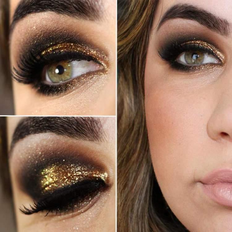 O dourado é uma peça-chave para incrementar a maquiagem