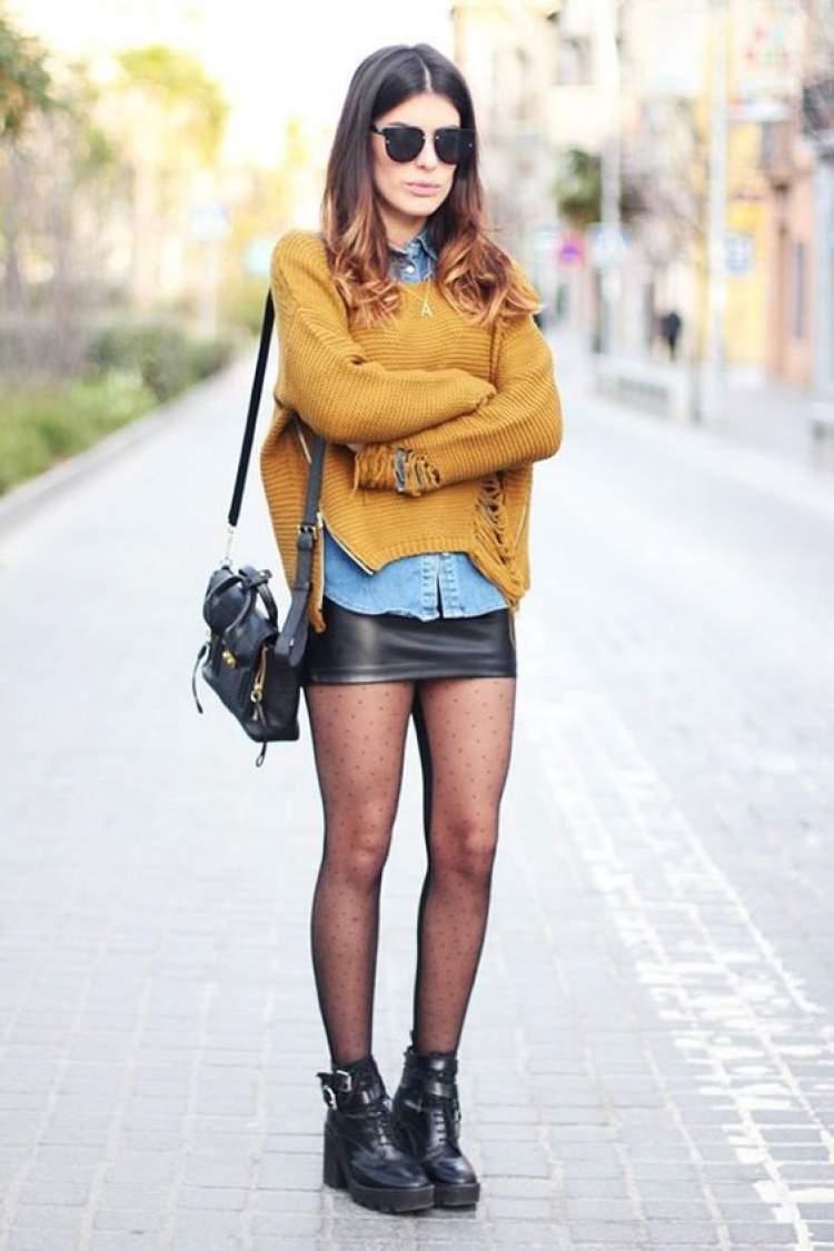 como usar saia de couro no inverno