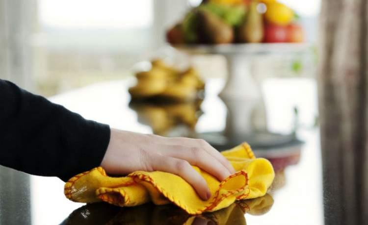 Limpando a bancada da cozinha com vinagre para afastar as moscas