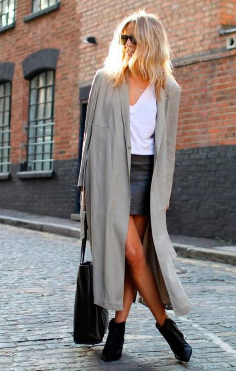 look de inverno com saia de couro
