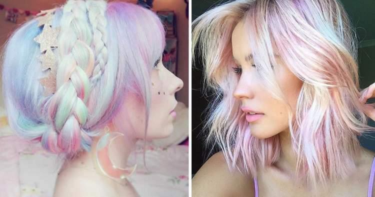 Modelo de cabelo holográfico