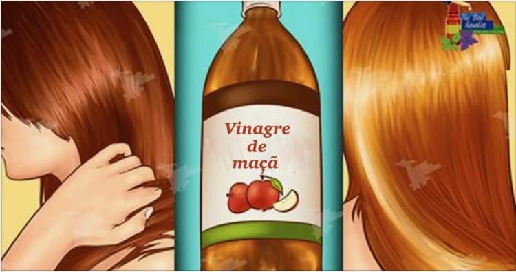 Receita caseira com vinagre de maça para fazer o cabelo crescer rápido e encorpado