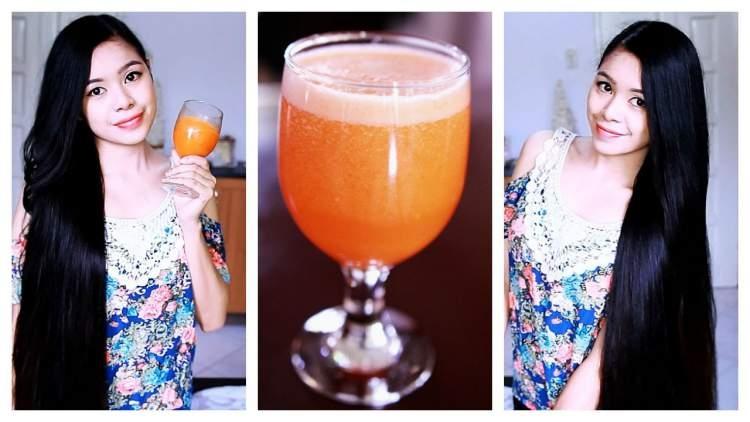 suco de cenoura, laranja e iogurte para estimular o crescimento do cabelo