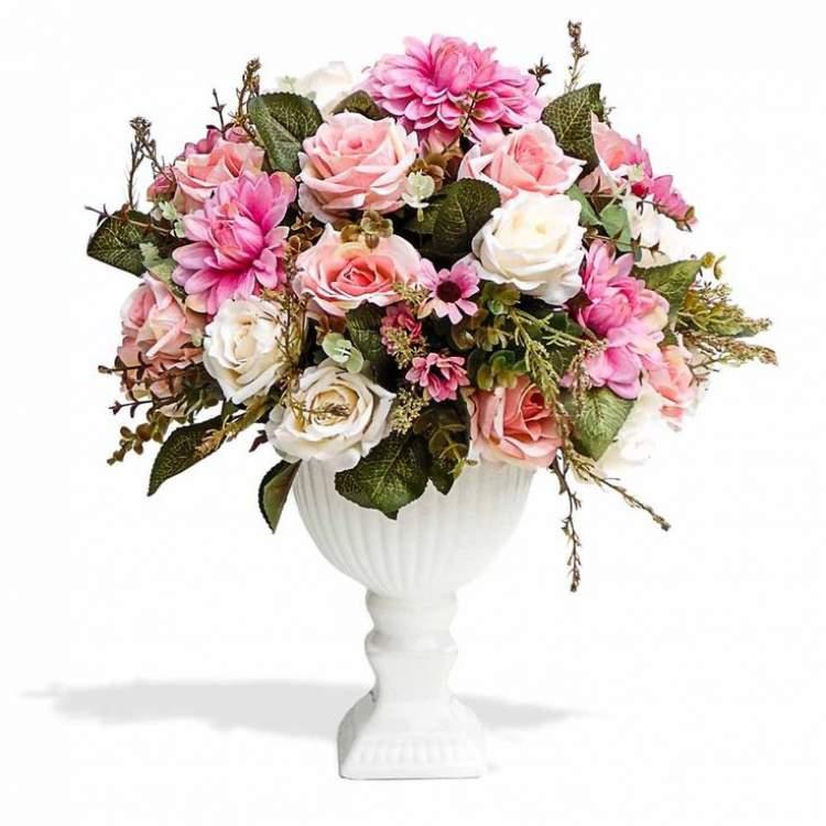 Arranjo de flores em cachepot pedestal
