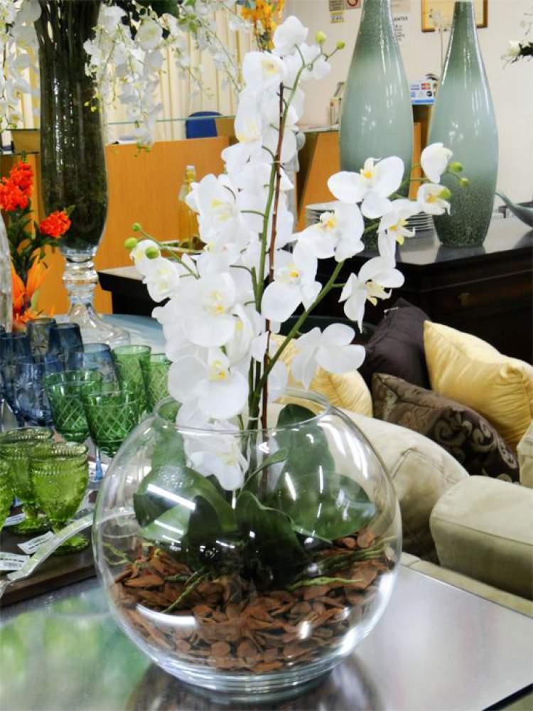 Vaso de flor feito com aquário