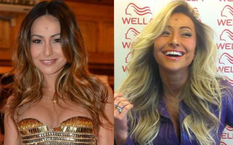 Sabrina Sato antes e depois de pintar o cabelo