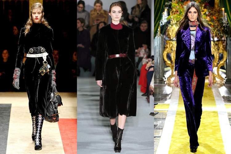 Veludo coutelê e o veludo molhado estarão entre as tendências da moda outono inverno 2018