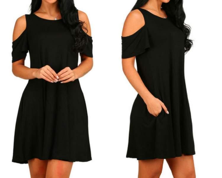 Vestido preto com recorte nos ombros