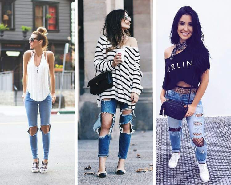 e497b8401 27 ideias de looks com calça jeans rasgada para você se inspirar e copiar -  Site de Beleza e Moda