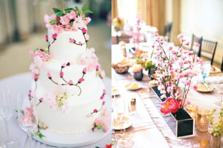 Decoração de casamento com flor de cerejeira