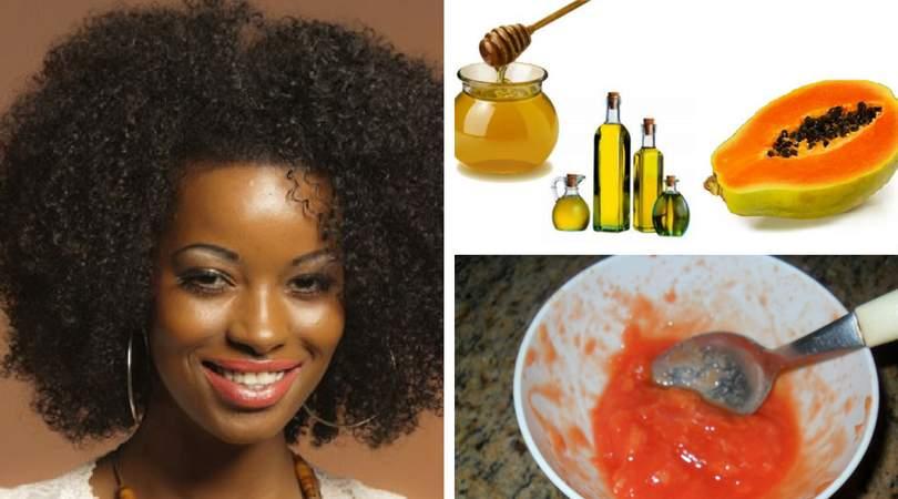 Receita caseira de mamão, mel e azeite para hidratar cabelos crespos e cacheados