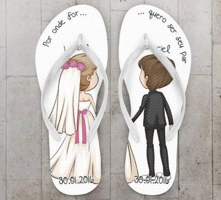 Sugestão de chinelo para lembrancinha de casamento