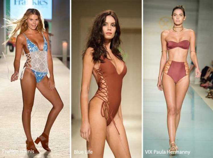 Biquíni e maiô com amarração lateral são Tendências da moda praia 2018