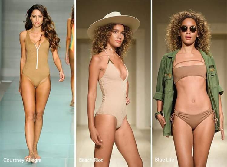 c466fe215 Biquínis e maiôs nude é uma das tendências da moda praia verão 2018