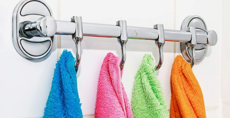 Ganchos para casaco como porta toalhas