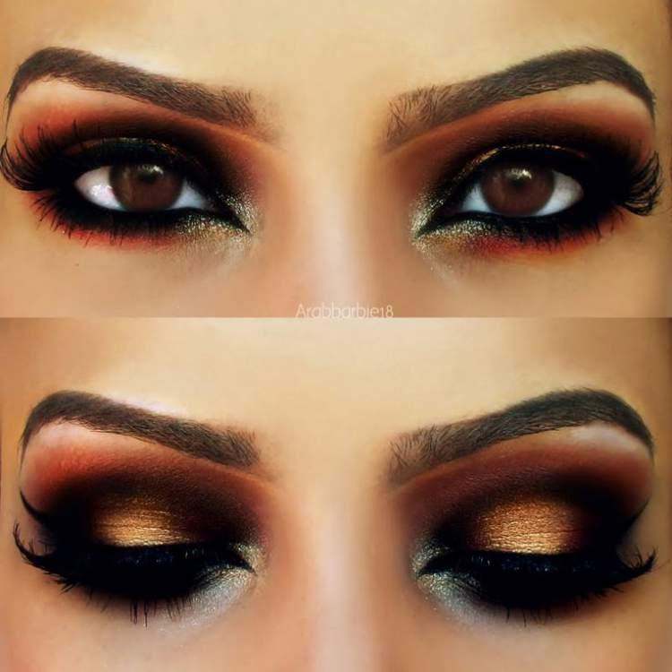 Olhos com sombra dourada e esfumado em vermelho