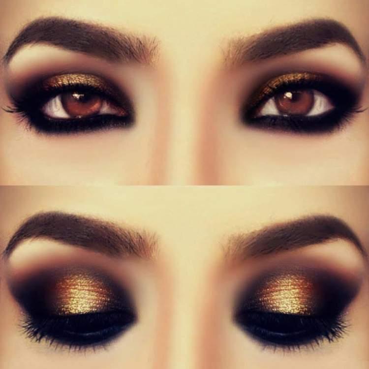 Olhos com sombra dourada na pálpebra móvel