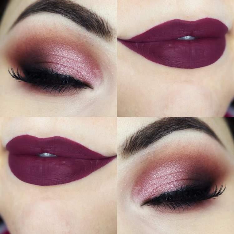 Olhos e lábios com tons de roxo