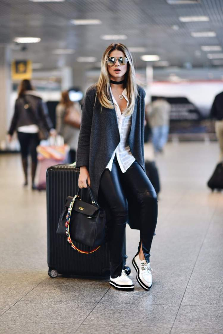 Look confortável e elegante para viajar