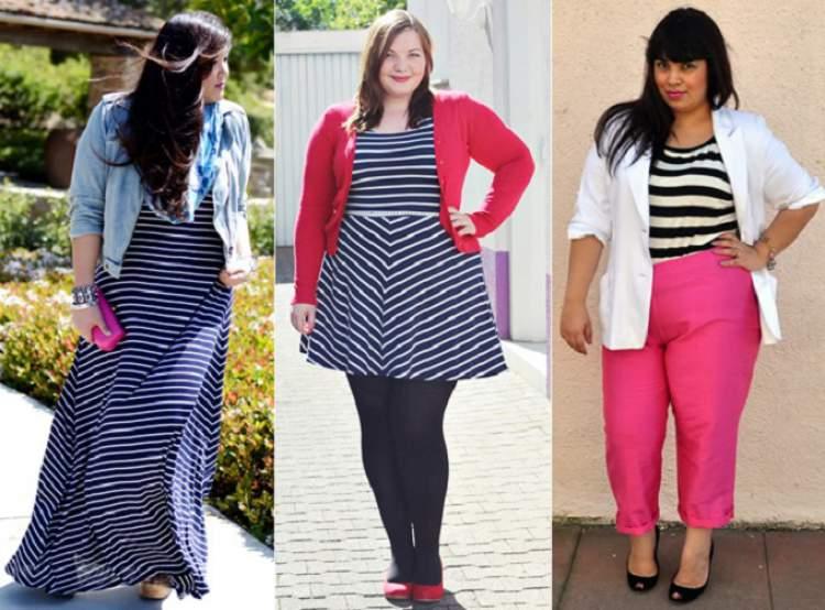 Moda Plus Size com Estampa de Listras Horizontais
