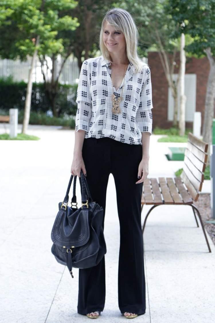 Calça de alfaiataria + camisa de seda é uma forma de criar um look fresquinho e elegante para trabalhar no verão