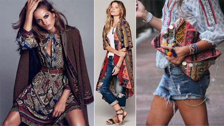Estampas em estilo hippie ricamente ornamentadas