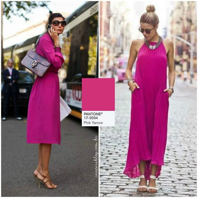 Vestido longo ou mídi na cor tendência do verão 2018: Pink Yarrow