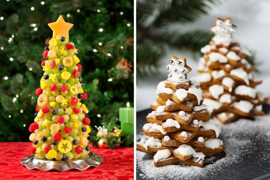 Árvore de Natal com frutas e biscoitos de Natal