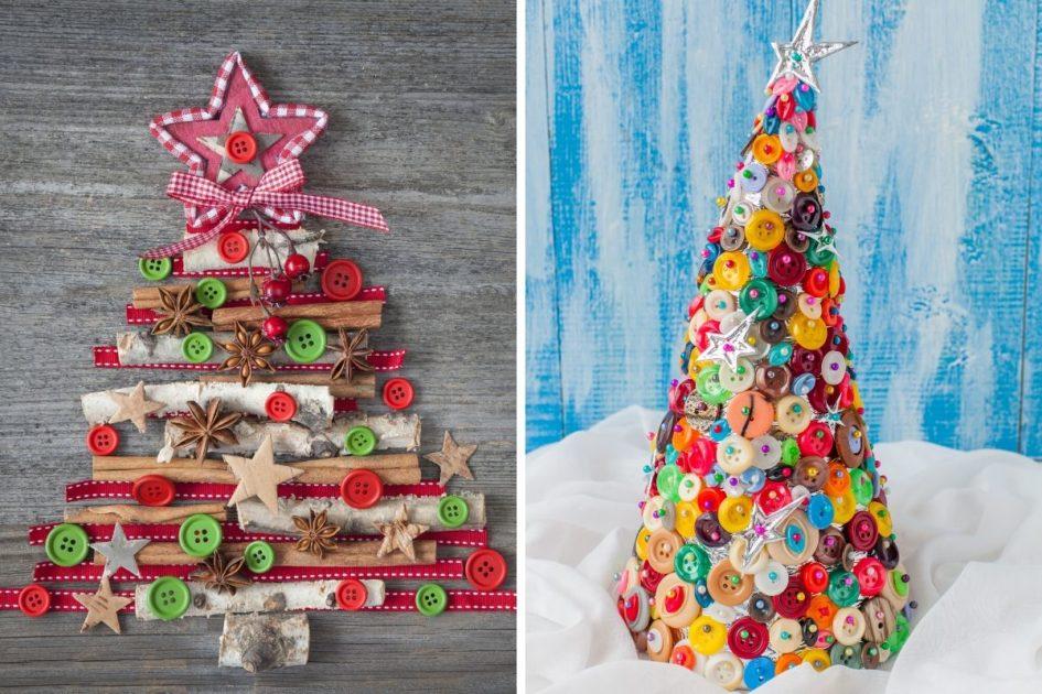 Árvores de Natal feitas com botões