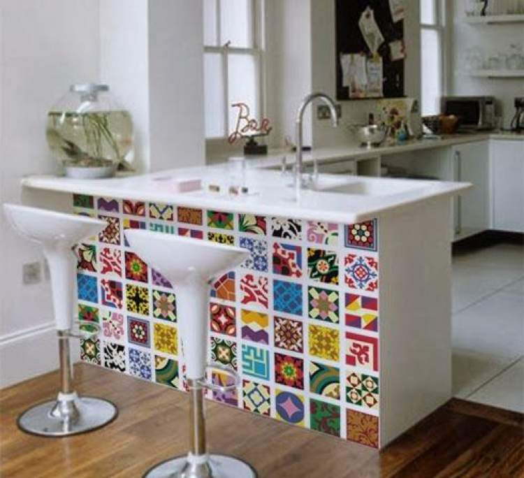 Balcão de cozinha com design criativo