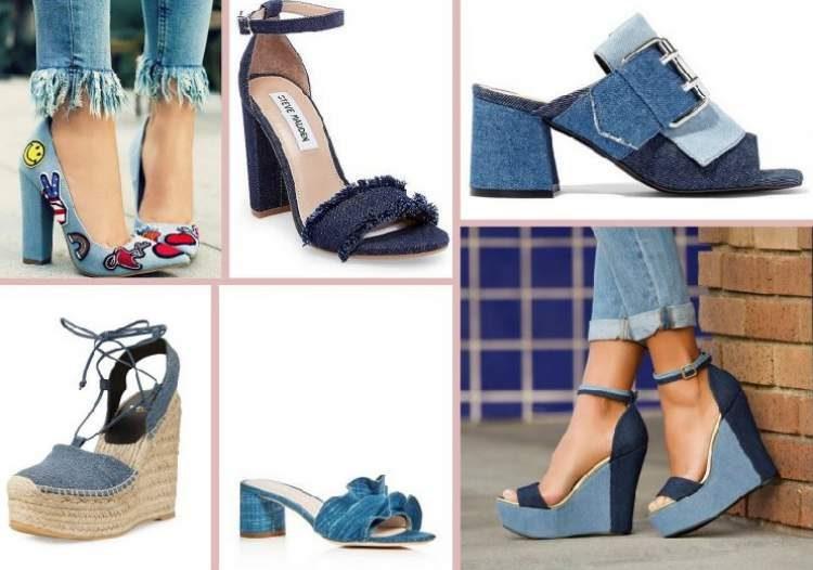 Calçados denim na cor azul é uma das 20 principais tendências do verão 2018