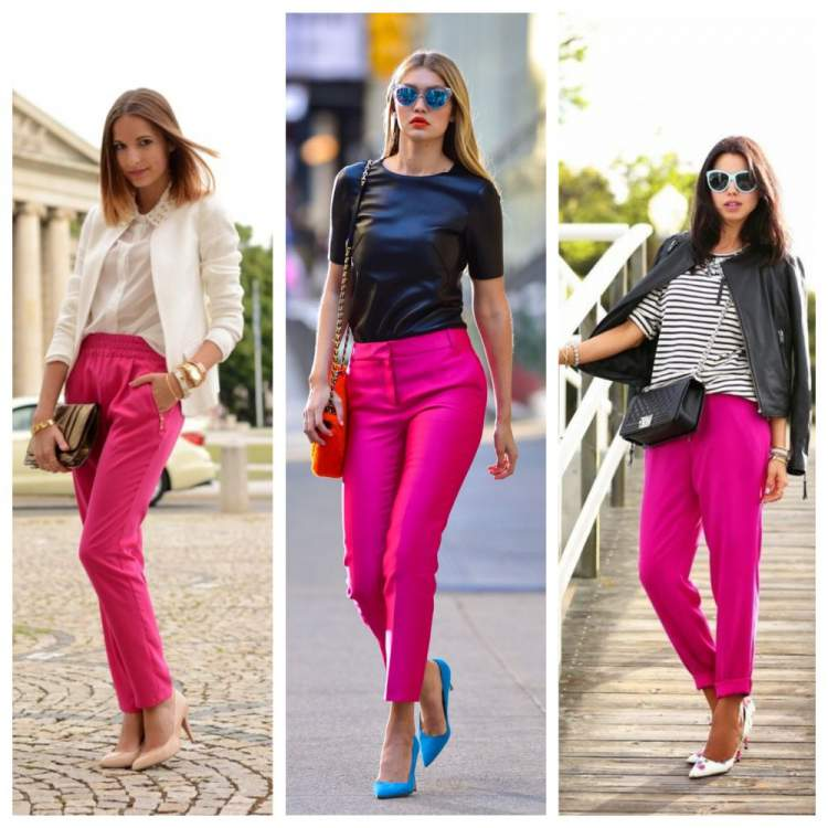 Calças na cor tendência do verão 2018: Pink Yarrow