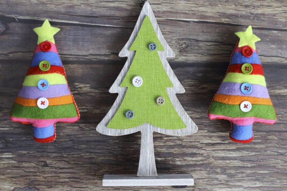 Enfeites para decoração de Natal feitos de tecido