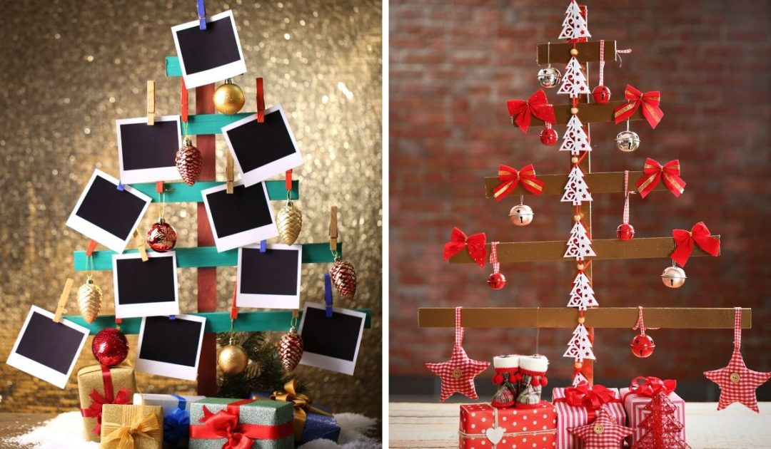 Ideias de árvore de natal criativa.
