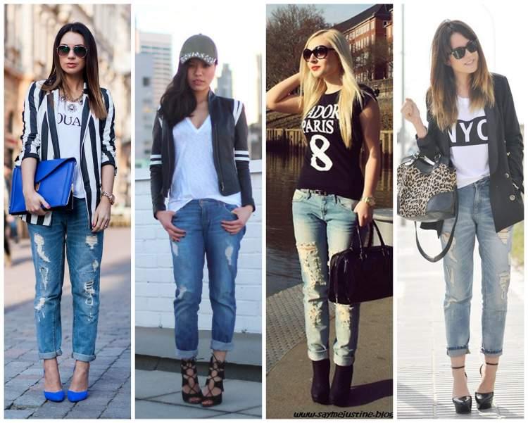 Looks para mulheres altas e magras com Jeans boyfriend destroyed