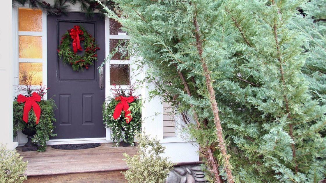 Decoração de Natal simples e bonita para área externa
