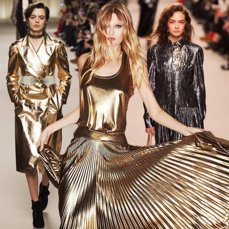 Combinar lurex e lamê no mesmo look é uma tendência da moda inverno 2018