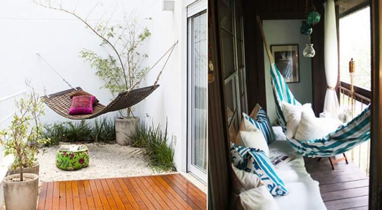 Instale uma rede para decorar a varanda ou sacada